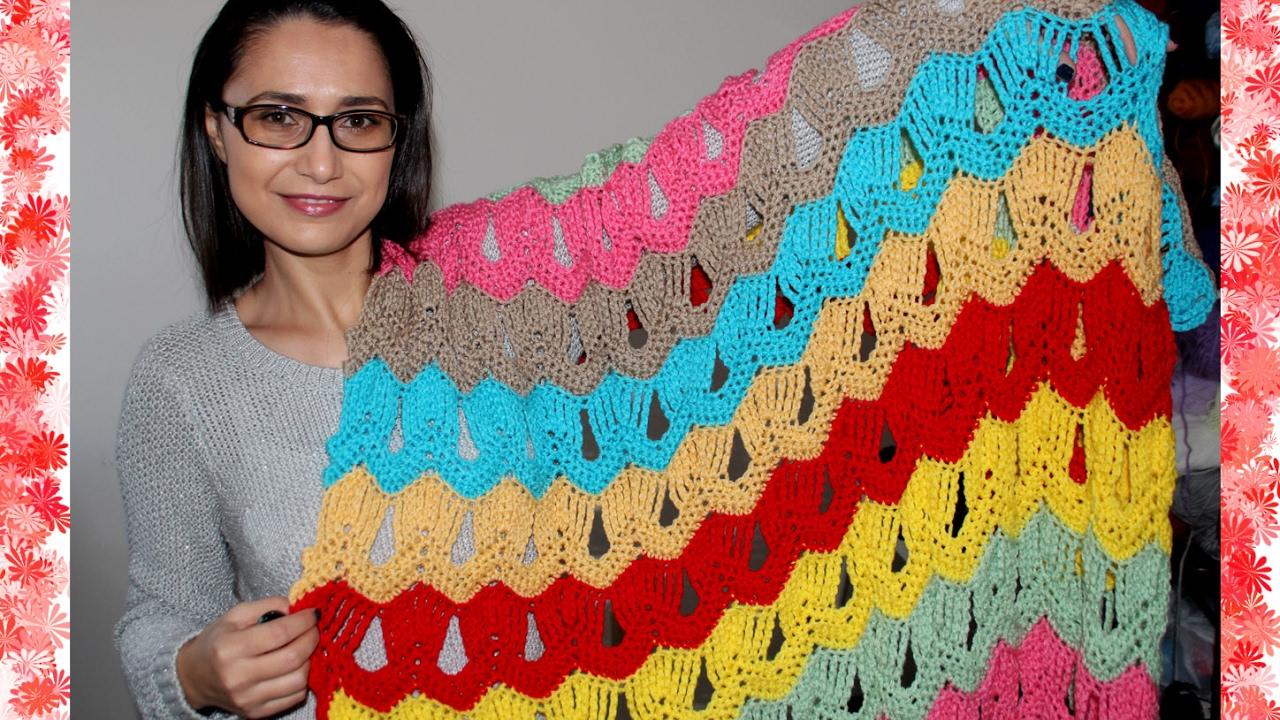 VINTAGE FAN RIPPLE BLANKET crochet tutorial - YouTube