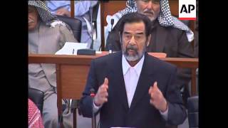 Saddam comments at trial after recess