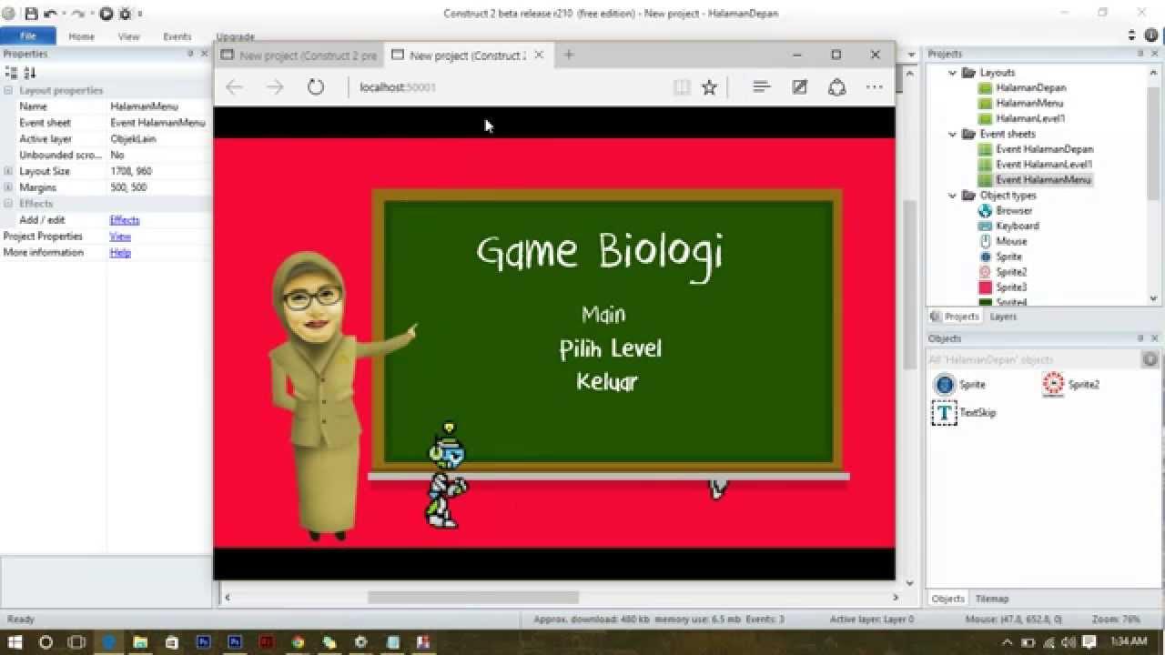tutorial navigasi halaman menu game pada construct bahasa indonesia