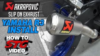 akrapovic slip on exhaust install on a 2015 yamaha yzf r3 from sportbiketrackgear com