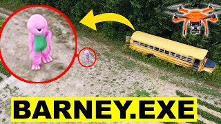 DONT GO TO THE ABANDONED SCHOOL BUS OR BARNEY WILL APPEAR | YOU WONT BELIEVE WHAT MY DRONE CAUGHT!