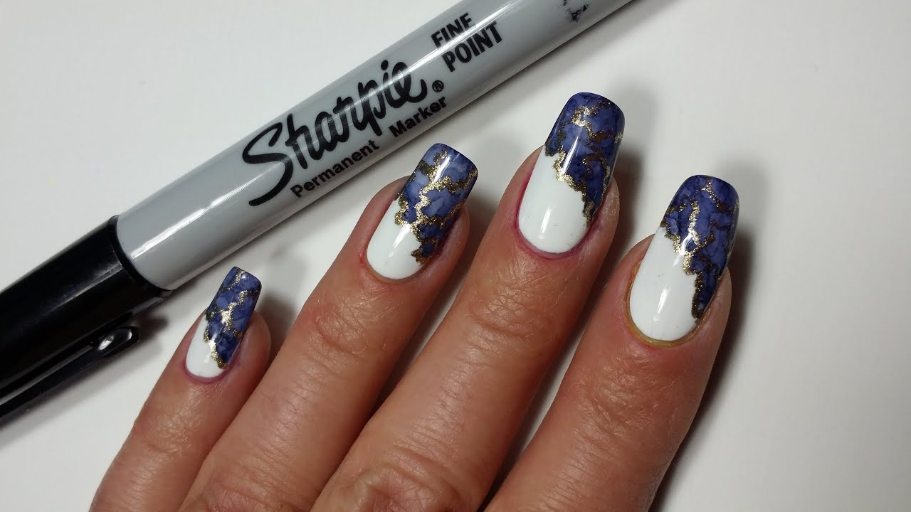 Sharpie Nail Art | Marble Side French Manicure - YouTube