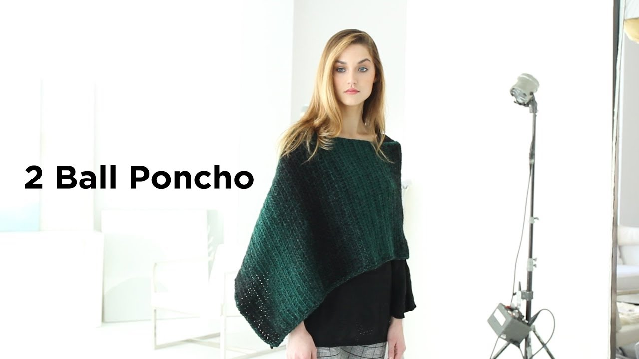 2 Ball Poncho crocheted Scarfie® Yarn - YouTube