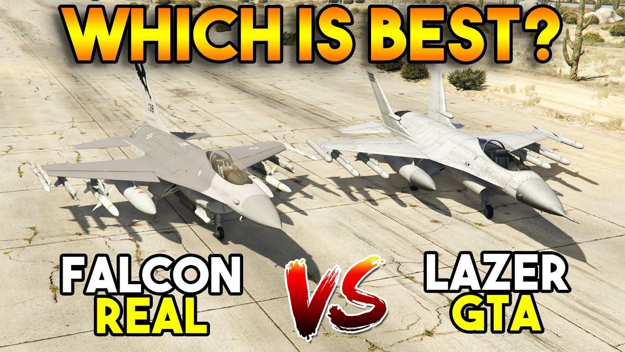 GTA 5 VS REAL : LAZER VS FALCON F16 (WHICH IS BEST?)