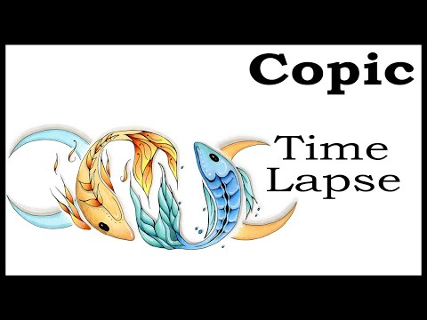 12 Minute Copic Time Lapse - Pisces Fish