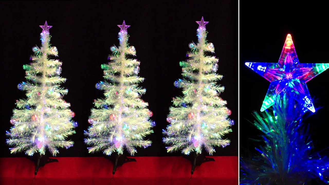 4ft Fibre Optic White Christmas Tree With Transparent