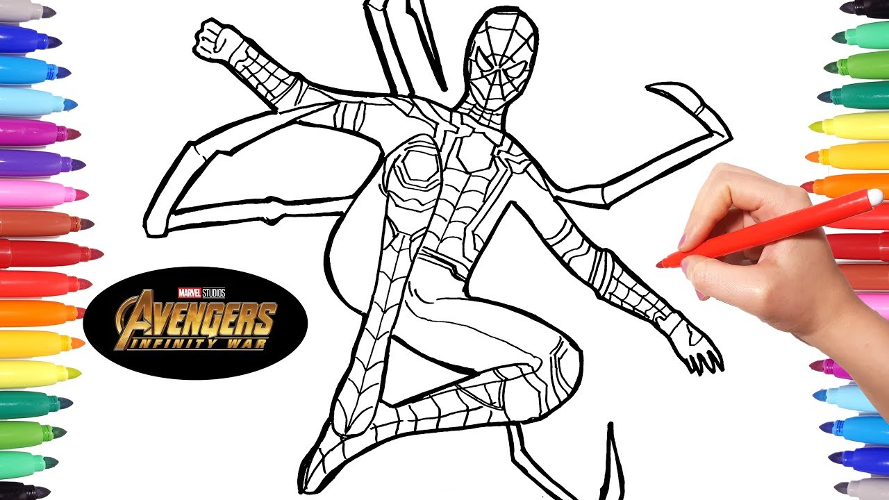 Avengers Infinity War Iron Spider  Avengers Coloring pages  How to Draw  spiderman  Infinity War
