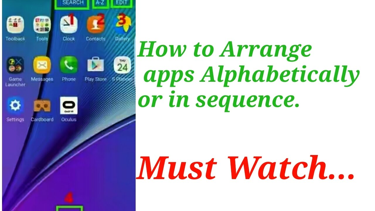 How to arrange apps alphabetically or in sequence