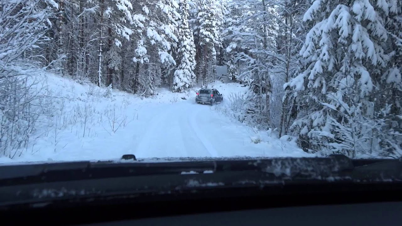 Volvo XC90 and Dacia Duster snow driving in Falun, Sweden - YouTube