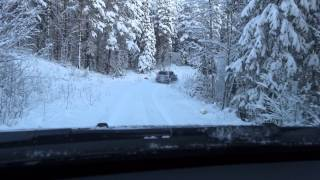 Volvo XC90 and Dacia Duster snow driving in Falun, Sweden
