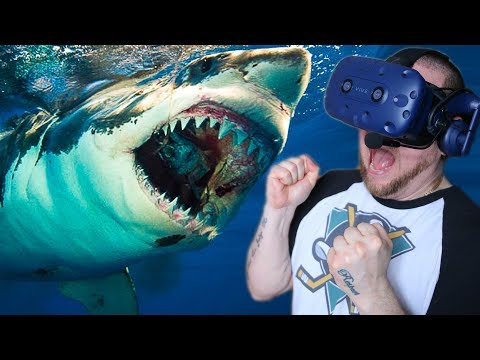 SHARK CAGE DIVING IN VR! | Shark Games in Virtual Reality (HTC VIVE PRO)