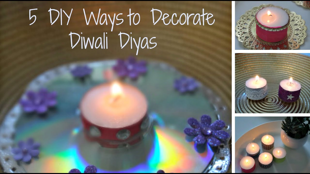 Christmas diwali diy 5 easy ways to decorate tea lights for Simple diwali home decorations