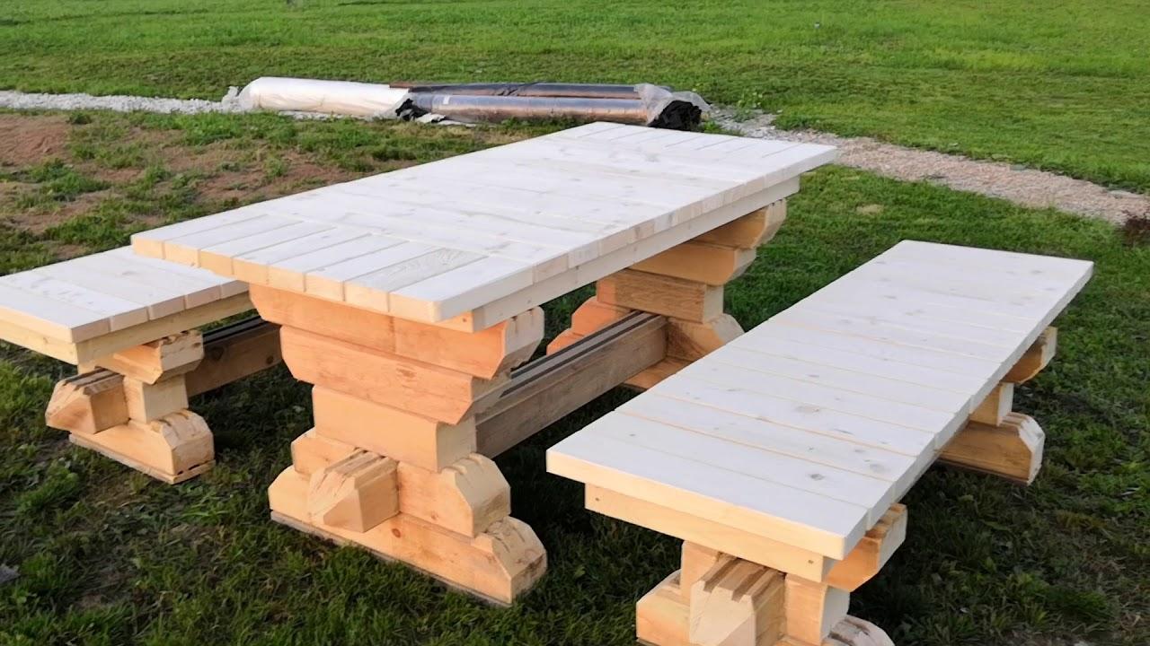 Стол и две лавочки из натурального дерева купить в Амурской ... | 720x1280