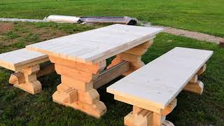 Скамейка и стол из обрезков бруса как сделать самому идея