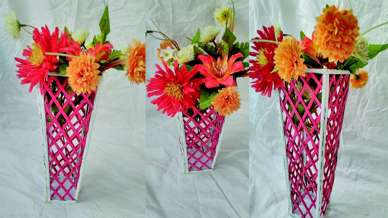 How to make a newspaper flower vase beautiful flower vase with flowervase newspaperflowervase newspapercraft izmirmasajfo