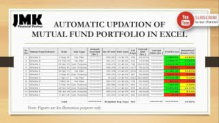 How to track Mutual Fund Portfolio (with automatic NAV updation) in EXCEL File (Part-1) !! screenshot 4