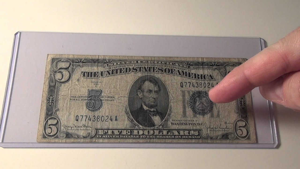 1934d 5 Silver Certificate Note Youtube