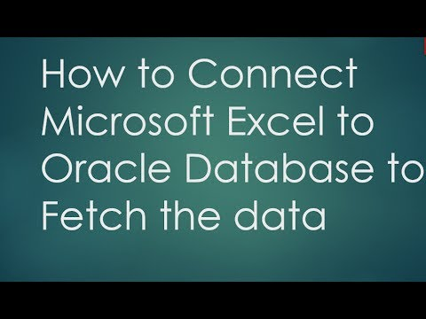 connect Excel with Oracle Database