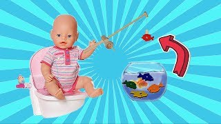 Play with Baby Born Doll and Bath Time Toys! 🎀 Nemo and Dory Fishing toy.