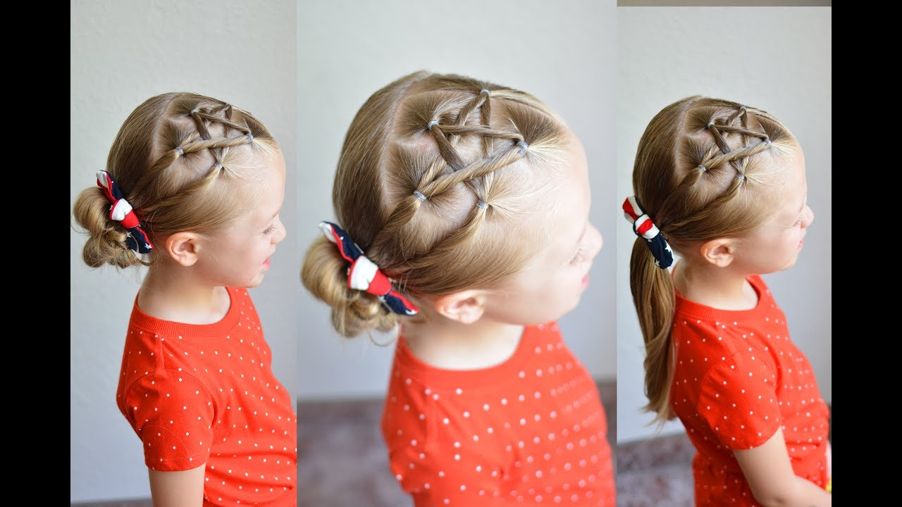 fourth of july easy mini star hairstyle | q's hairdos
