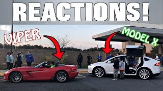 Driving The Viper & Model X In A School Parade... Hilarious Reactions!