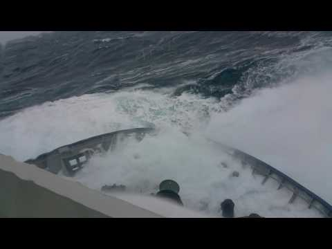 Big wave hitting supply ship in the North Sea!