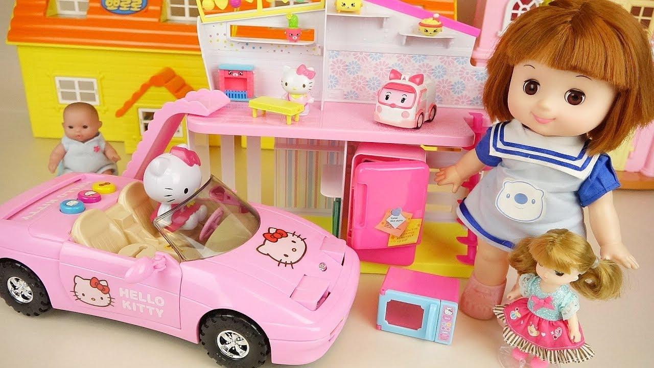Baby doll house and Hello Kitty sports car play Doli house