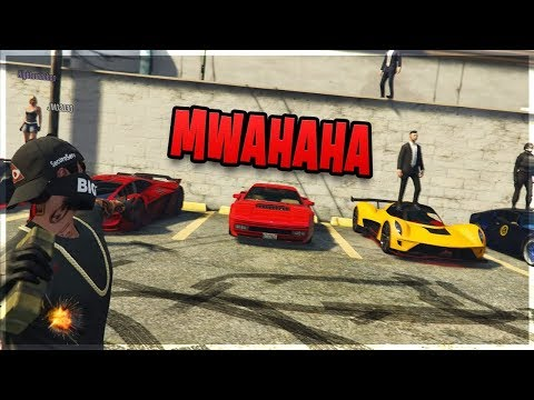 MENACINGLY DESTROYING A CAR SHOW!! (GTA 5 Trolling)