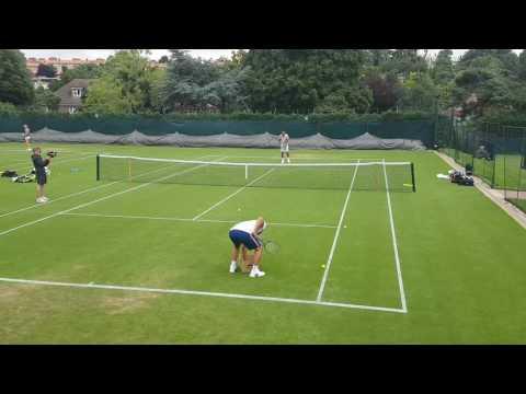 Tsonga training Wimbledon 2017