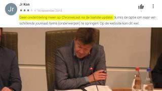 Sven Gatz liegt. Ondertiteling ontbreekt op VRT NU via Chromecast op tv-toestel.