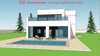 Modelo Menorca. Construcción De Chalet Moderno Diseñado Por Grupo Katania