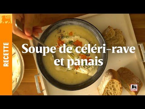 Soupe de céléri-rave et panais, chantilly au citron et oeufs de saumon