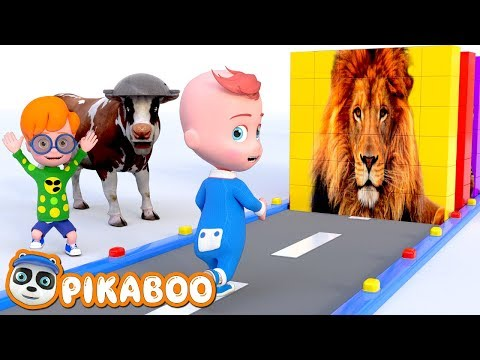 Learn Wild Animals and Fruits with Funny Baby Style PC Games | Pretend Play Cartoon with PiKaBOO