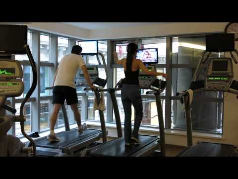 Man and woman in a fitness club in Budapest