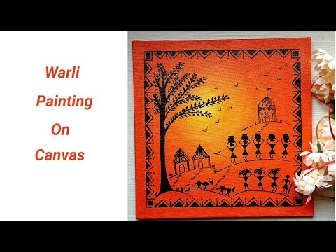 Warli painting on canvas | DIY warli painting | wall decor ideas | colours Creativity Space