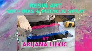 Resin Art with Inks and Metallic Silver Spray - by Arijana Lukic #7