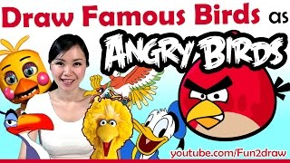 Artist Draw Movie + Game Birds as ANGRY BIRDS Challenge(This art challenge video shows how I draw some famous, popular video game & movie bird characters as Angry Birds - How I draw character mashups in this fun ..., 2016-05-13T14:30:00.000Z)