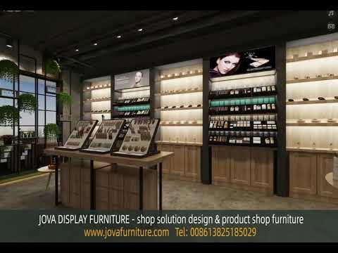 beauty store design, cosmetics display racks and shelves