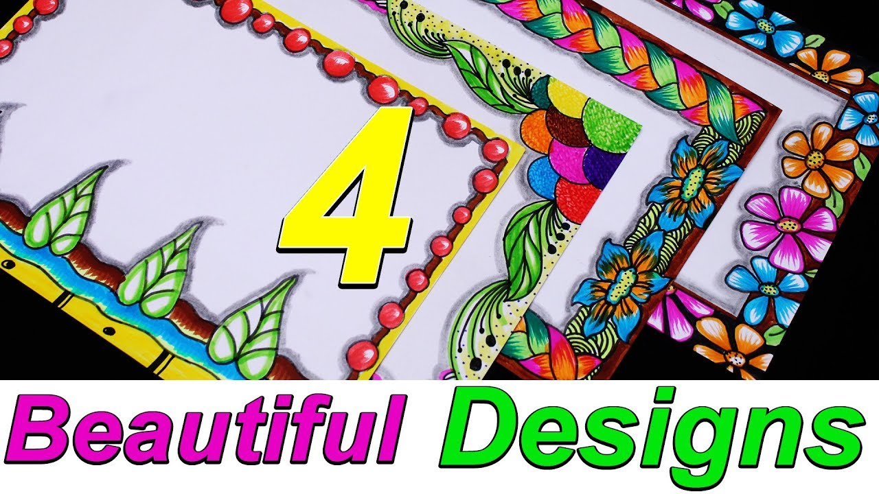 4 Amazing Attractive Borders || Border Designs Ideas || Simple border design || My Creative Hub #1