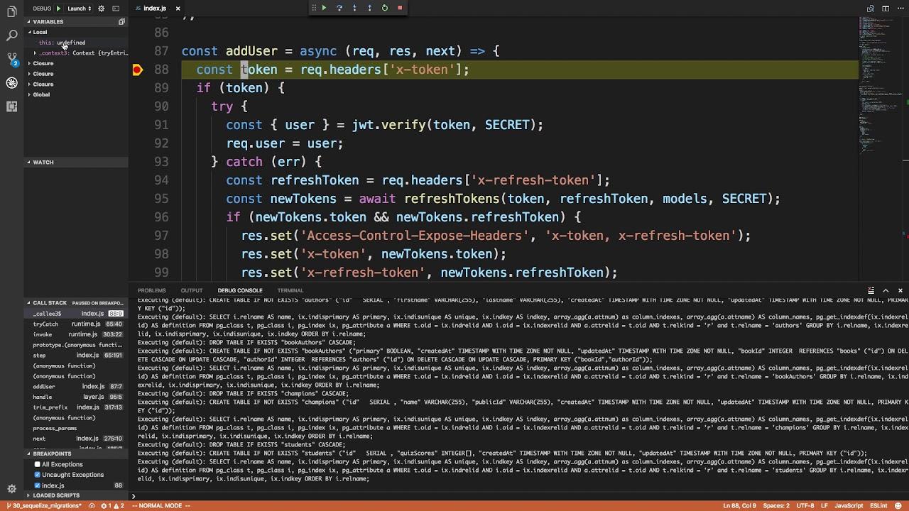 Visual Studio Code Node js Debugger