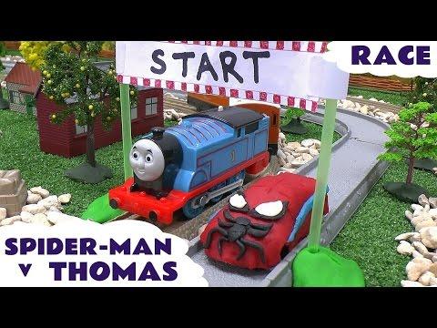 Spider-Man Races Thomas The Tank Engine Play Doh Toy Car Thomas Y Sus Amigos Super Hero Play-Doh