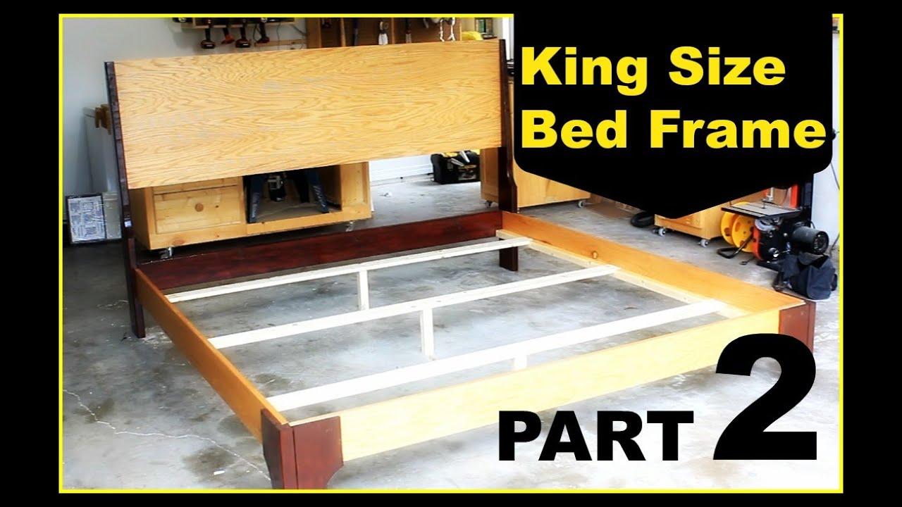 diy king size bed frame part 2 youtube. Black Bedroom Furniture Sets. Home Design Ideas