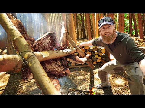 CAVEMAN Cooking Wild Deer - WHOLE! | Catch, Clean, Cook in the FOREST
