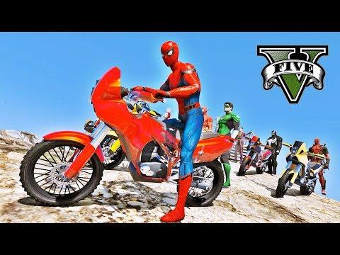MOTOS com HOMEM ARANHA e Heróis na Mega Rampa Desafio de Saltos GTA V Mods - IR GAMES