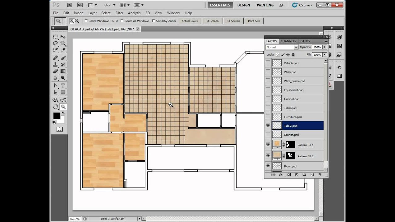 Painting autocad drawings with photoshop 04 10 floor youtube - Floor plans for free paint ...