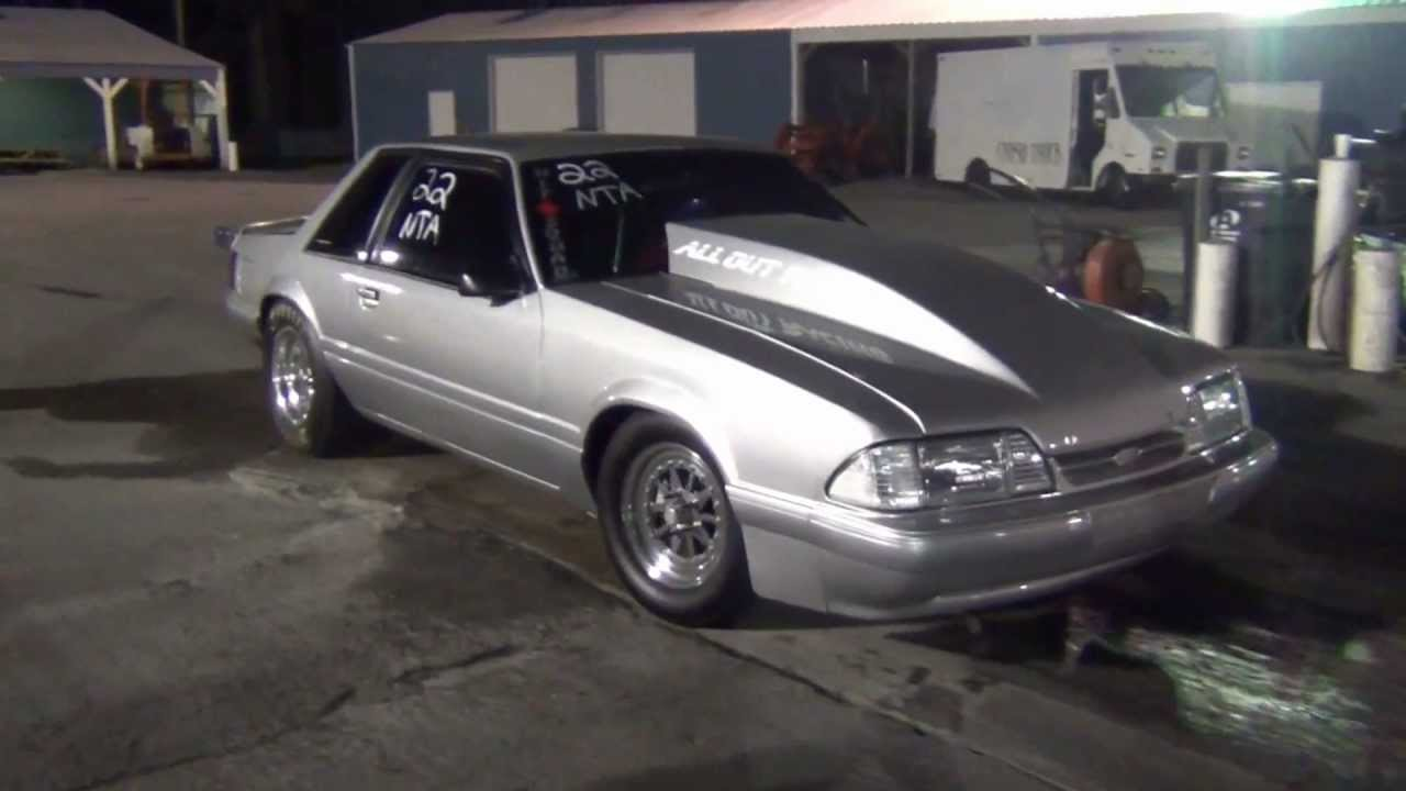 Silver Fox Body Mustang Showing Off At Gulfport Dragway