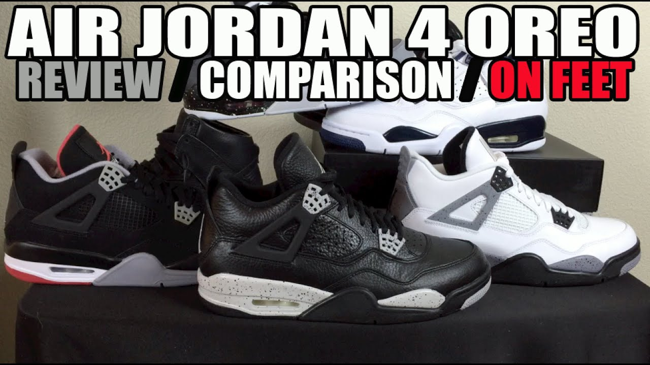 43b63a84a87044 ... Air Jordan 4 (IV) Retro Oreo Remastered Review Comparison On Feet -  YouTube ...