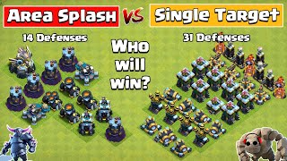 Area Splash Defense Vs Single Target Defense Formation | Clash of Clans