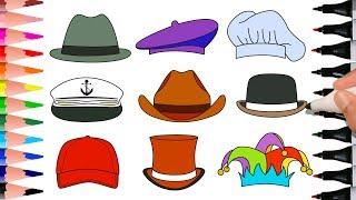 Different Types Of Headgear: Hat Detective, Cap Artist, Chef Hat, Sailor Hat, Cowboy Hat