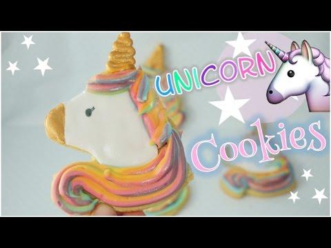 Unicorn Cookies I Schimmernde Einhorn Cookies mit Regenbogen-Icing
